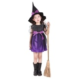 Recent Kid Girls Halloween Costumes Witch Wizard Dress With Hat Halloween Role Play Cosplay Party Dress Up Supplies Purple 120Cm Intl
