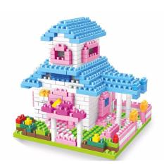 Buy Kid Puzzle Toys Building Games Small Particles Building Blocks G*rl Stacking House Princess Villa Building Blocks Blue Intl Oem Original