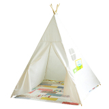 Kids Play Tent Four Poles Children Teepees Cotton Canvas Playhouse For Baby Room White On Line