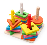 Compare Price Kids Wooden Block Toy 5 Pillar Matching Shape Intl On China