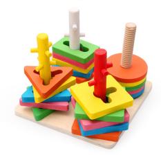 Best Deal Kids Wooden Block Toy 5 Pillar Matching Shape Intl