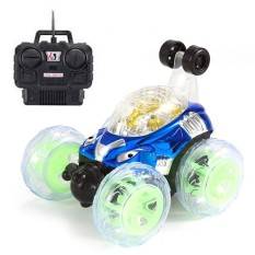 Kobwa Rc Stunt Car, Invincible Tornado Twister Spin Remote Control Toys, With Light And Music, Great Children Boys Kids Christmas Festival Gifts (blue) - Intl By Kobwa Direct.