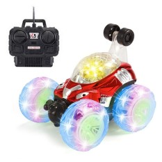 Kobwa Rechargeable Rc Rolling Stunt Car 360 Degree Spinning And Flips With Color Flash Music Remote Control Truck Toy For Kids - Intl By Kobwa Direct.