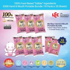 List Price Lec Ma Fleur 100 Food Based Edible Ingredient Mild Acidity E500X6 Pink For Hand Mouth Portable Wet Wipes Pack 12X25 S Lec