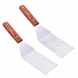 Cheap Lightning Power 1 Pair Of Stainless Steel Turner Spatula Grill Set With Riveted Smooth Wood Handle In Perforated Solid Face For Teppanyaki Hibachi Griddle Silver Brown Intl Online