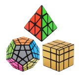 Shop For Little Jump Bundle Pack Speed Cube Set Of 3 Pyraminx Pyramid Speedcubing Megaminx Speed Cube Gold Mirror Cube Magic Twisty Puzzle Intl