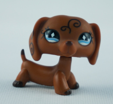LPS Littlest Pet Shop #640 Girl toys Brown Dachshund Dog Swirl Blue Diamond Eyes Kids
