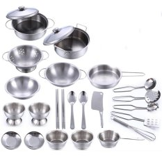 Lt365 25pcs Stainless Steel Kids House Kitchen Toy Cooking Cookware Children Pretend & Play Kitchen Playset - Silver - Intl By Laza365.