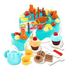 Lt365 54Pcs Plastic Kitchen Cutting Toy Birthday Cake Pretend Play Food Toy Set For Kids Girls Blue Intl Discount Code