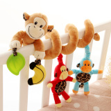 Sale Lt365 Cute Monkey Family Design Infant Baby Spiral Bed Stroller Plush Toy Kid Pram Crib Ornament Hangings On Hong Kong Sar China
