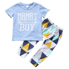 Mamas Boy Letter Print Blue Short Sleeve T-Shirt+ Graphic Pants Clothing Sets For 0-2y Boys By Children Eden.