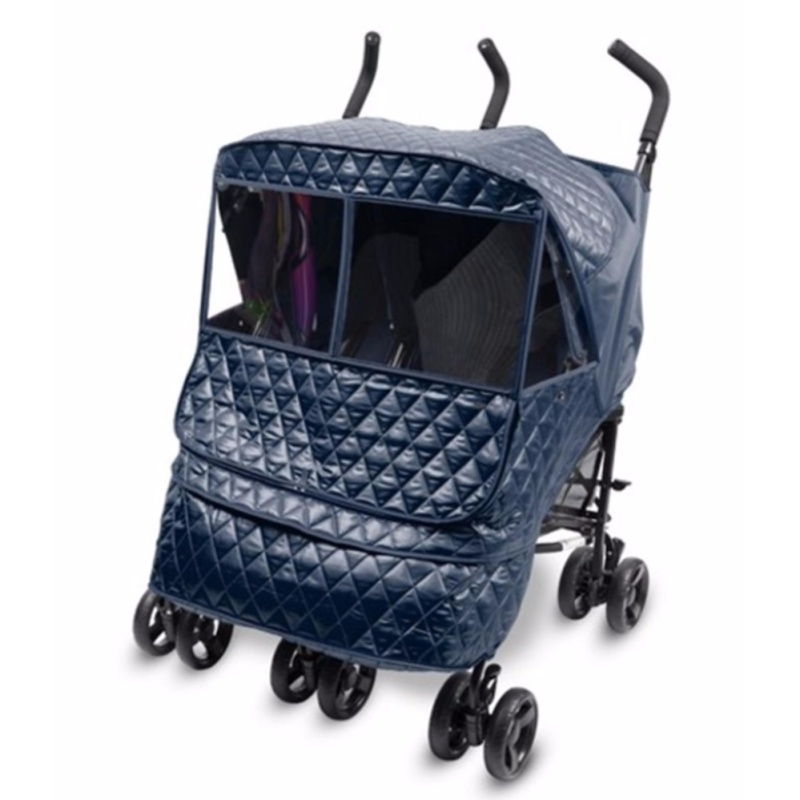 Manito Castle Alpha Twin Stroller Weather Shield RED , NAVY BLUE COLORS ♡ - intl Singapore