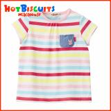 Mikihouse Hot Biscuits Border Pattern With Dungaree Pocket T Shirt Lower Price