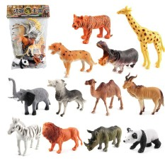 Mini Lovely Plastic Zoo Animal Figure Model Set Tiger Leopard Hippo Giraffe Kids Toy Christmas Gift Style:1280 By Redcolourful.