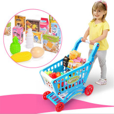 Shop For Mini Shopping Cart With Full Grocery Food Toy Fun Prentend Play Playset For Kids Early Kitchen Learningblue Intl