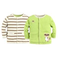 Mom And Bab Reversible Jacket - Green/raccoon.