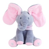 Moob Pawaca Peek A Boo Elephant Stuffed Animal Toy Plush Elephant Doll Play Electric Music Education Birthday Christmas Thanksgiving Gifts For Kids Children Intl Discount Code