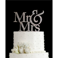 Mr&mrs Romantic Silver Shiny Cake Topper Wedding Party Top Letter Decor By Five Star Store.