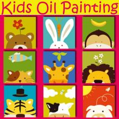 Compare Set Of 3 Kids Oil Painting Canvas Set Animal Series Prices
