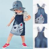 Low Price New Cute Cat Baby Kids Girls Toddler Denim Jeans Overalls Dress Skirt Clothes Intl