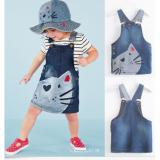 Cheapest New Cute Cat Baby Kids Girls Toddler Denim Jeans Overalls Dress Skirt Clothes Online