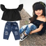 Where To Buy New Toddler Kids Baby Girls Off Shoulder Tops Denim Pants Outfits Set Clothes Intl