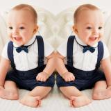 Retail Price Newborn Baby Boys Bow Tie Cotton T Shirt Bib Pants Overalls 3Pcs Outfit Clothes Sets Intl