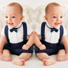 Discount Newborn Baby Boys Bow Tie Cotton T Shirt Bib Pants Overalls 3Pcs Outfit Clothes Sets Intl