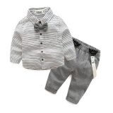Newborn Baby Formal Suit Little Gentleman Baby Boy Grey Striped Shirt Overalls Wedding Party Clothes Intl Coupon Code