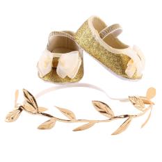33195c522 Newborn Baby Girls Shoes Headband Set Booties First Walker (Golden)