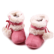 Newborn Baby Infant Winter Warm Soft Cotton Shoes Boots Christmas Boots Pink Size S for 0