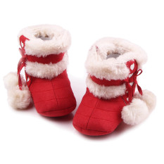 Newborn Baby Infant Winter Warm Soft Cotton Shoes Boots Christmas Boots Red Size L for 12