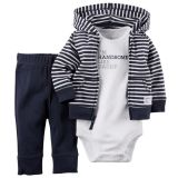 Newborn Infant Striped Baby Boy Cardigan Romper Pants 3Pcs Sets Intl In Stock