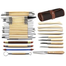 Niceeshop 30pcs Clay Sculpting Tools Pottery Carving Tool Set Wooden Handle Modeling Clay Tools With Pouch Bag By Nicee Shop