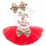 Shop For One Year Old Baby G*rl Birthday Outfits Lovely 3 Pcs Sets Sequins Bow Headband Rompers Summer Tulle Mini Dress Intl