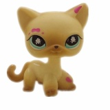 Original 1Pc Lps Quality Cute Toys Lovely Pet Shop Animal Small Yellow Cat With Pink Spots Action Figure Littlest Doll Toys Intl Coupon