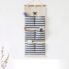 Deals For Mimosifolia Over The Door Storage Bathroom Wall Door Organizer System Baby Closets Storage Hanging Pockets Blue Stripes 6 Pockets