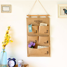 For Sale Mimosifolia Over The Door Storage Bathroom Wall Door Organizer System Baby Closets Storage Hanging Pockets Natural Jute 5 Pockets
