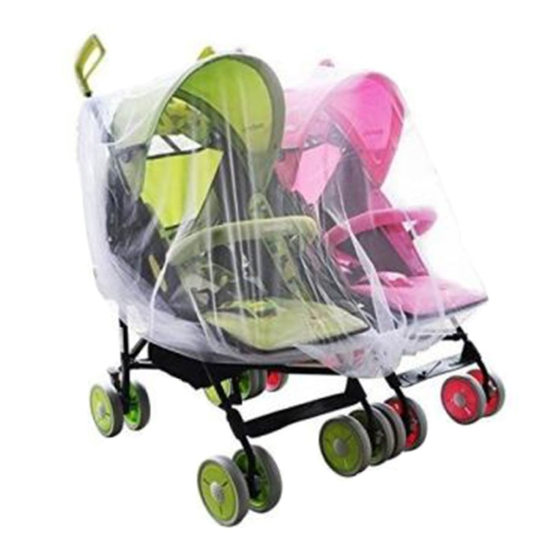 Portable Universal Twin Baby Stroller Mesh Mosquito Net Cover Preventing Bee Insect Bug for Tandem Side by Side Strollers Pushchairs - intl Singapore