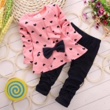 Discount Roadwayer 100 Cotton Kids Baby Girls Butterfly Knot Printing Long Sleeve Clothing Sets Intl China