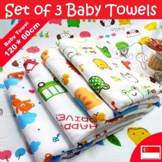 Baby Towel 100% Cotton Muslin Gauze [set Of 3] Children Bath Towels /blanket (honeycomb) By Nature Home.