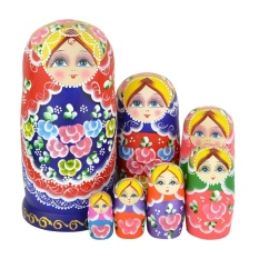 Top Rated Set Of 7 Matryoshka Russian Wooden Wishing Nesting Dolls Intl