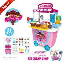 The Cheapest Simulation Trolley Toy Set Pretend Play Assembly Tools For Kids Color Ice Cream Bucket Car 8K Intl Online