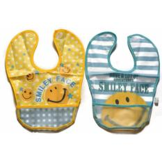 Smiley Face Soft Big Plastic Big Bib With Catcher Set Of 2 Multicolor In Stock
