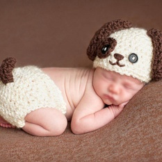 Soft Newborn Photography Props Lovely Infant Baby Big Ears Dog Handmade  Kintted Crochet Hat Suit Baby 892e92c6b