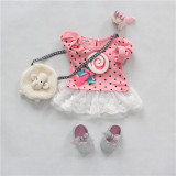 Coupon Spring Baby G*Rl Infants Sweet Cute Lollipops Full Sleeve Bow Knot Lace Dress Pink