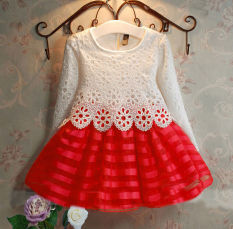Low Cost Spring Baby Girls Children Cute Crochet Lace Long Sleeve Dress 3 8Years