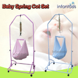 Spring Cot Set Blue Manual Baby Cradle Oem Discount