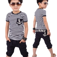 Summer T-Shirt Pants Set For Children Boy Cotton O Neck Striped Anchor Short Sleeve Clothes Costume - Intl By Children Eden.