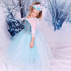 New Sz Frozen Princess Dress For Kids Cosplay And Christmas 2017 New Style Costume Size 140Cm) Intl
